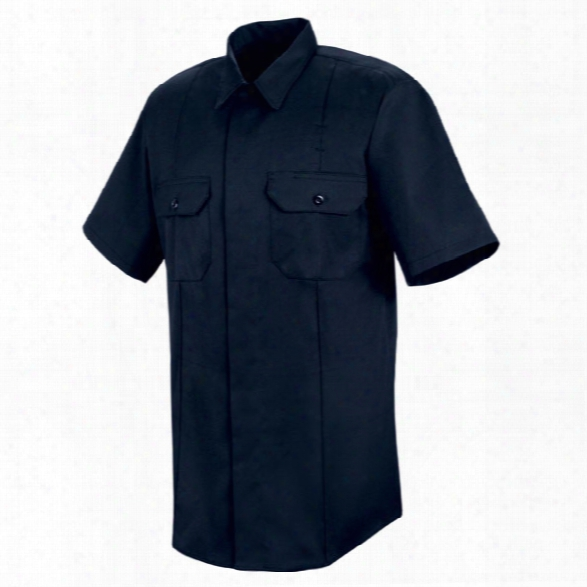 Horace Small New Dimension Concealed Button Front Short Sleeve Shirt, Dark Navy, 2x-large - Blue - Male - Included