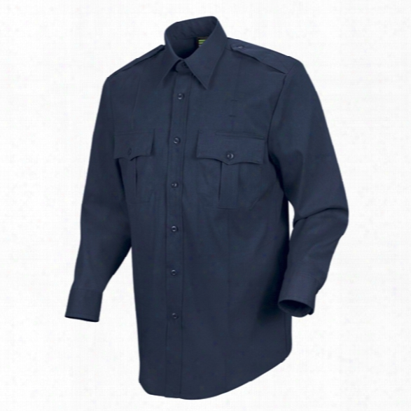 Horace Small Sentry Ls Button Front Shirt, Dark Navy, 14.5 Collar, 32 Sleeve - Blue - Male - Included
