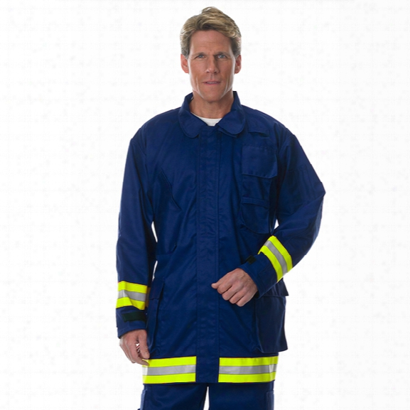 Lakeland Extrication Coat, 9oz 100% Fr Cotton With L/s/l Refelctive Trim, Royal Blue, 2x-large - Royal - Male - Included