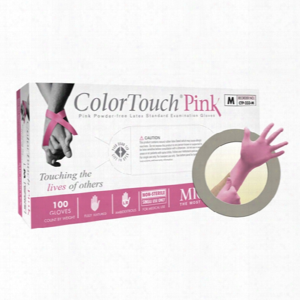 Microflex (1 Box) Colortouch Pink Powder Free Latex Glove, Lg - Pink - Male - Included