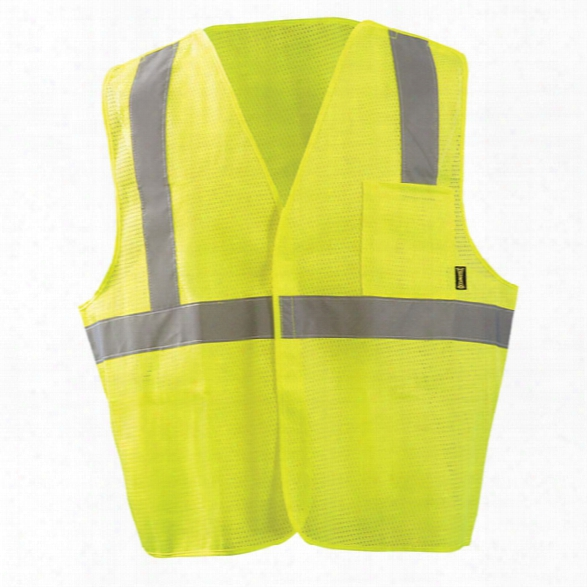 Occunomix Class 2 5 Point Breakaway Mesh Vest, Yellow, 2x-large - Silver - Unisex - Included