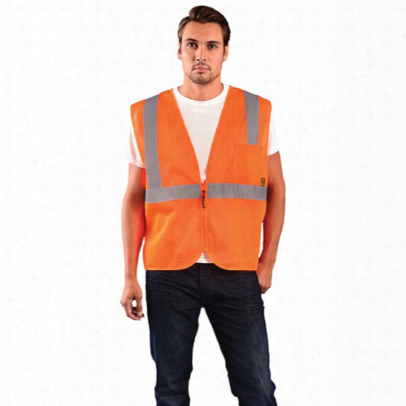 Occunomix Value Mesh Standard Vest, Class 2, Orange, 2x-large - Silver - Unisex - Included
