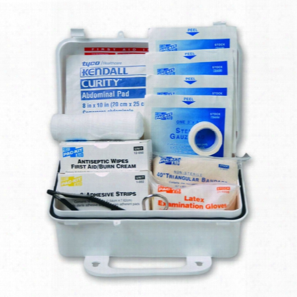 Pac-kit Safety Equipment #10 Weatherproof First Aid Kit With Plastic Case, Ansi Z308.1-2009 - Cream - Male - Included