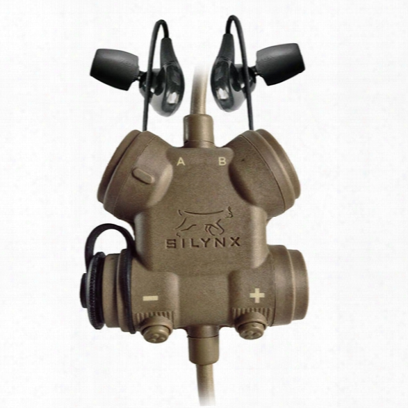 Silynx Clarus Xpr, Clarus Xpr Ctrl Box, Fixed Dual In-ear Headset, Qdc Radio Lead, Inclds Mbitr/prc117/152 Radio Adapter Cable, Tan - Clear - Male - Included