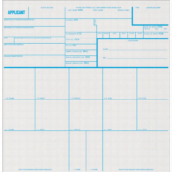Sirchie Applicant Record Cards, 8 In. X 8 In., 100 Per Pack - Blue - Unisex - Included