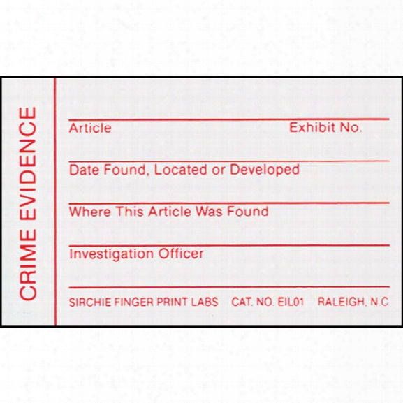 Sirchie Evidence Id Labels, 2-3/4 In. X 1-3/4 In., 100 Per Pack - Red - Unisex - Included
