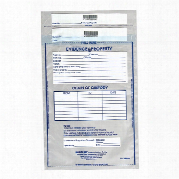 Sirchie Integrity Evidence Bag, 12 In. X 15-1/2 In., 100 Per Pack - Unisex - Included