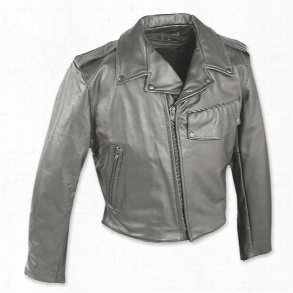 Taylors Leatherwear Detroit Leather Jacket, Black, 2x Long - Black - Male - Included