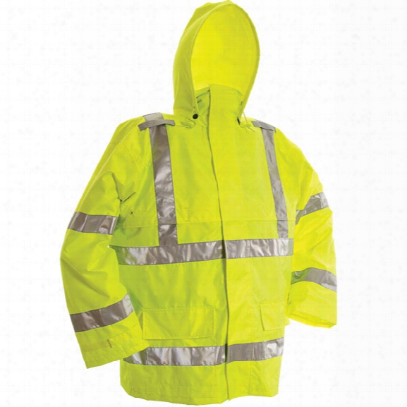 Viking Open Road 150 Denier Rip Stop Safety Jacket, Fluorescent Green, 2x-large - Green - Male - Included