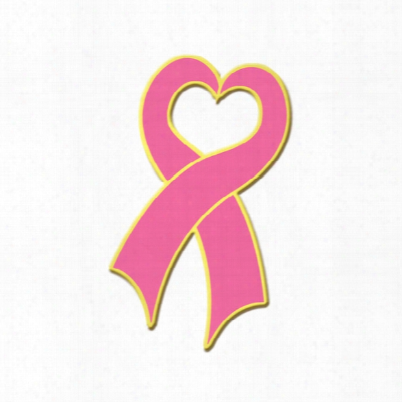 "Blackinton Lapel Pin, Breast Cancer Awareness Heart Ribbon, 1-1/8"" W/ Clutch Back Pin - Pink - Male - Included"