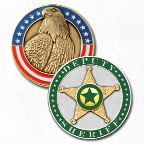 Blackinton Sheriff Modeled Challenge Coin, Green - Silver - Male - Included