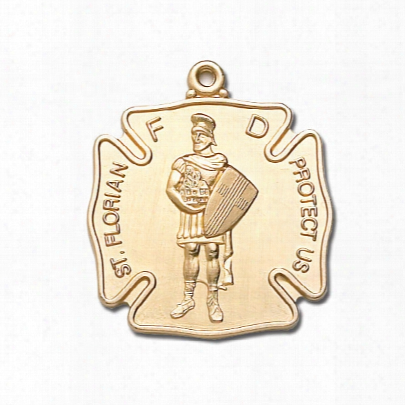 Blackinton St. Florian Medal (no Chain), 24k Gold Plate, Large - Gold - Unisex - Included