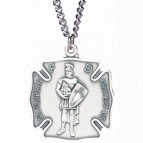 Blackinton St. Florian Necklace (includes Charm And Chain), Sterling Silver, Large - Silver - Unisex - Included