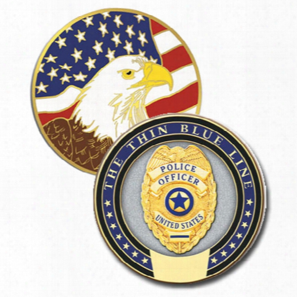 Blackinton Thin Blue Line Challenge Coin - Blue - Male - Included