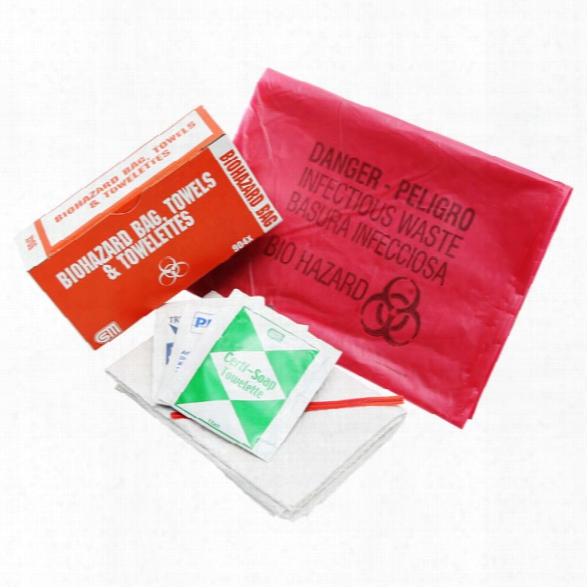 Certified Safety 2 Bio-hazard Bags, 4 Wipes & 2 Towels - Male - Included