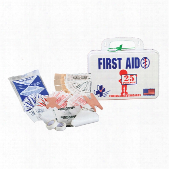 Certified Safety Ansi 25 Person First Aid Kit W/eye Wash, Poly White - White - Male - Included