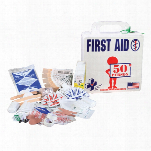 Certified Safety Ansi 50 Person First Aid Kit, Poly White - Cream - Male - Included