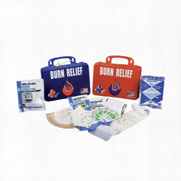 Certified Safety Burn Relief First Aid Kit, Poly Case, White - Red - Unisex - Included