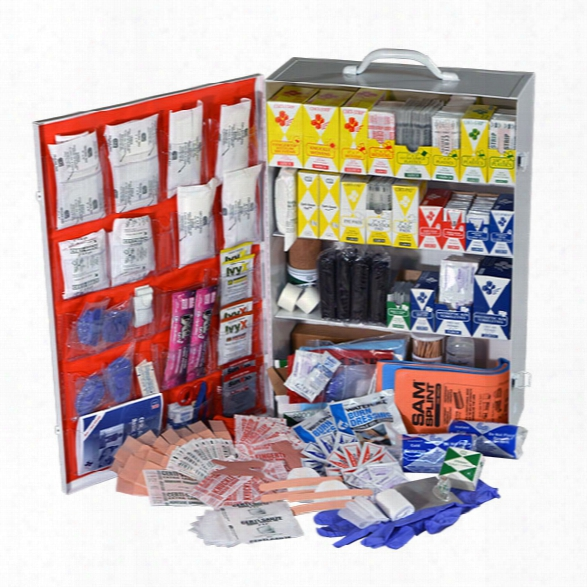 Certified Safety Class B First Aid Kit, 4-shelf Metal Cabinet - Cream - Unisex - Included