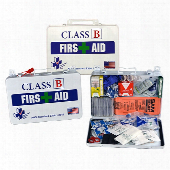 Certified Safety Class B First Aid Kit, Metal Case - Cream - Unisex - Included