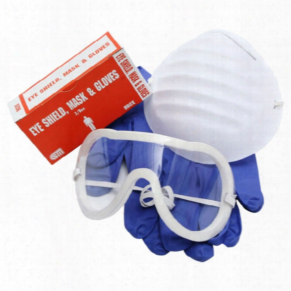 Certified Safety Eyeshield, Mask & Nitrile Gloves - Male - Included