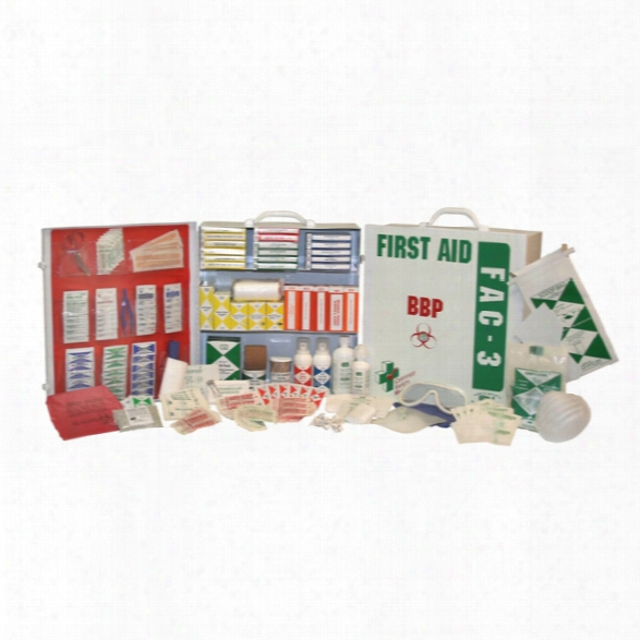 Certified Safety Fac-3 - Deluxe Cabinet -â With Blood Borne Pathogen Kit - No Medicinals - 3 Shelf - Unisex - Included