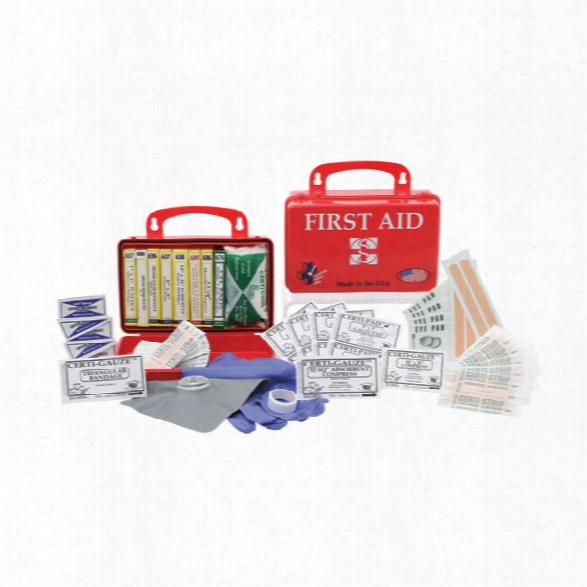 Certified Safety Premium First Aid Kit, Red Poly Case, 10pr - Red - Unisex - Included