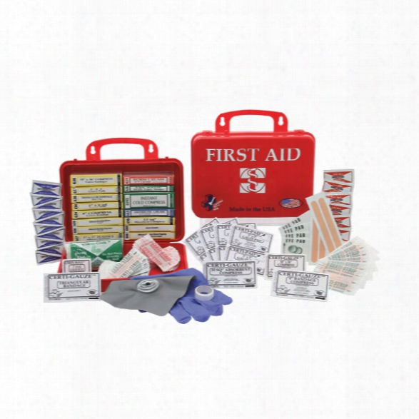 Certified Safety Premium First Aid Kit, Red Poly Case, 18pr - Red - Unisex - Included