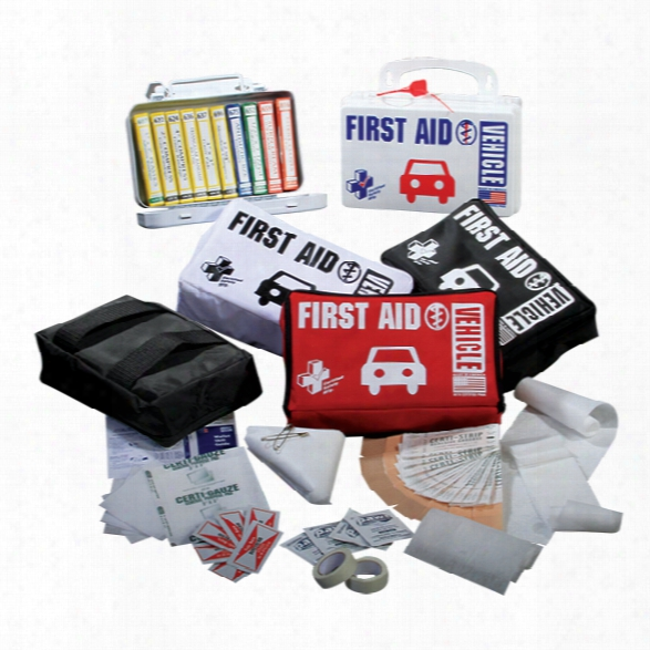 Certified Safety Vehicle First Aid Kit, Nylon Bag, White - Black - Male - Included