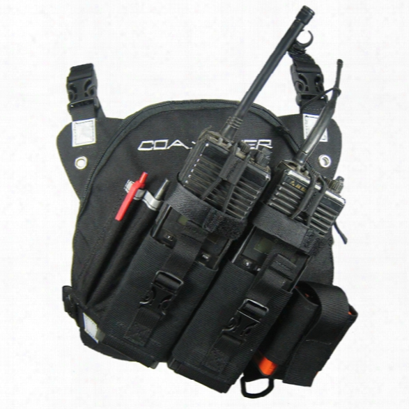 Coaxsher Dr-1 Commander, Dual Radio Chest Harness, Black - Black - Unisex - Included