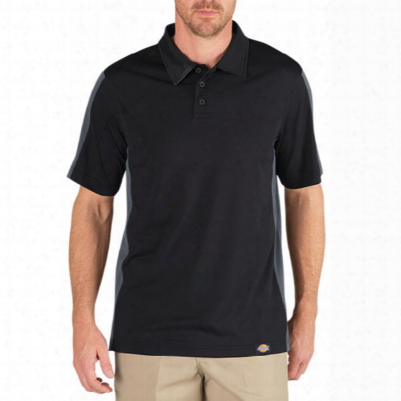 Dickies Performance Colorblock Polo, Black/charcoal, 2xl - Black - Male - Included