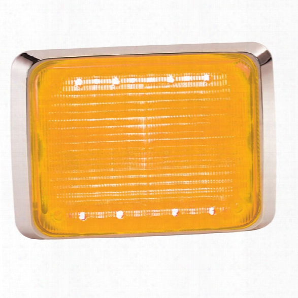Federal Signal Quadraflare Led, 9x7, Clear Lens, Amber - Chrome - Male - Excluded