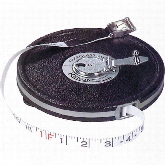 Keson 100' Closed Case Fiberglass Tape Measure, Measures Feet, Inches, 1/8 - Male - Included