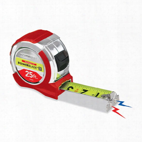 "Komelon 25' X 1.06"" Chrome Powerblade Ii Tape Measure, Magnetic Endhook - White - Unisex - Included"