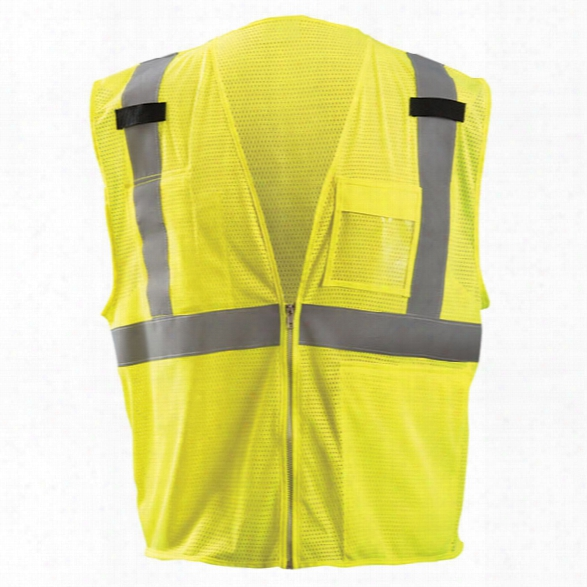 Occunomix Class 2 Mesh Vest W/tablet Pocket, Yellow, 2x-large - Silver - Unisex - Included