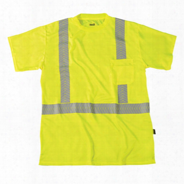 Occunomix Class 2 Segmented Tape Birdseye Ss T-shirt, Yellow, 2x-large - Silver - Male - Included