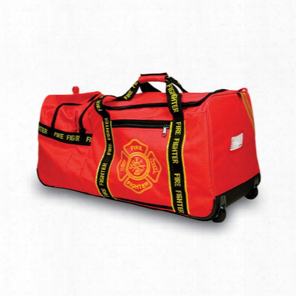 Occunomix Large Fire Gear Bag W/wheels, Red - Yellow - Male - Included