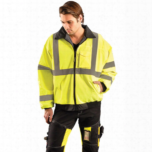 Occunomix Value Bomber Jacket, Yellow, 2x-large - Silver - Male - Included