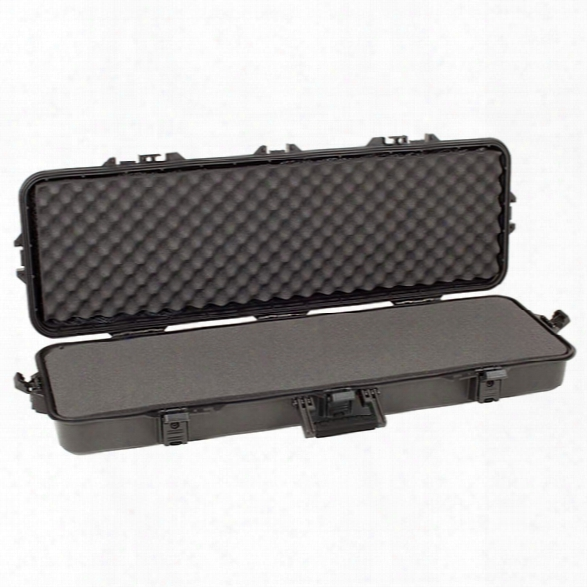 """Plano Tactical All Weather Rifle Case W/ Foam, Black Latches/ Handle, 42"""" - Black - Male - Included"""