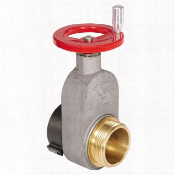 "Pok Hydrant Gate Valve, Aluminum, Female 2-1/2"" Nst X Male 2-1/2"" Nst - Red - Female - Included"
