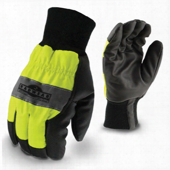 Radians All Purpose Synthetic Hi-viz Utility Glove, Hi-viz Green, Large - Silver - Male - Included