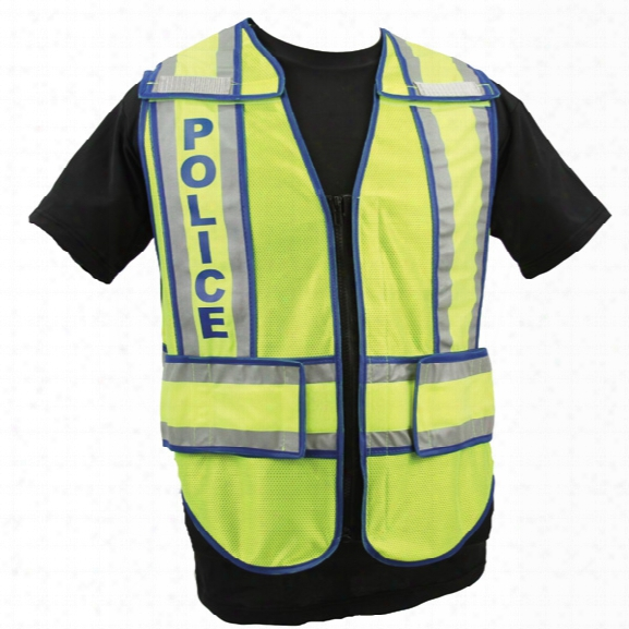 Radians Micro Mesh W/split Trim Ansi 207-2006 Zip-n-rip Vest, Blue Police, Lime W/blue/silver, Jumbo - Lime - Unisex - Included