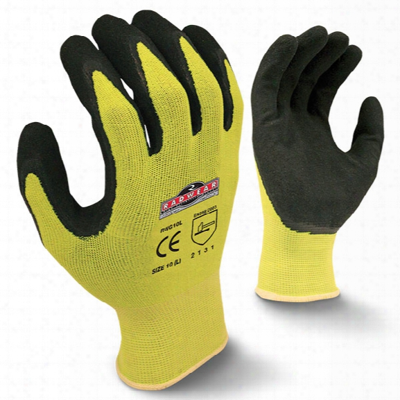 Radians Radwear® Hi-viz Knit Dipped Glove, Lime, Large - Silver - Male - Included