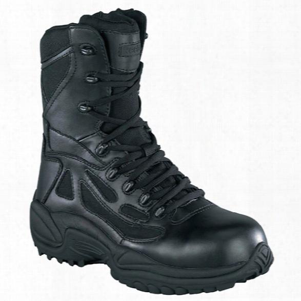 """Reebok Womens Rapid Response, 8"""" Waterproof Sidezip Boot, Black, 10.5m - Metallic - Female - Excluded"""