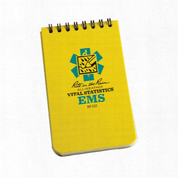 Rite In The Rain 3 X 5 Top Spiral Notebook, Ems Vital Stat Form, Yellow - White - Unisex - Included