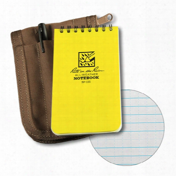 Rite In The Rain 3 X 5 Top Spiral Notebook Kit, Yellow Book/black Cover/black Pen - Black - Unisex - Included