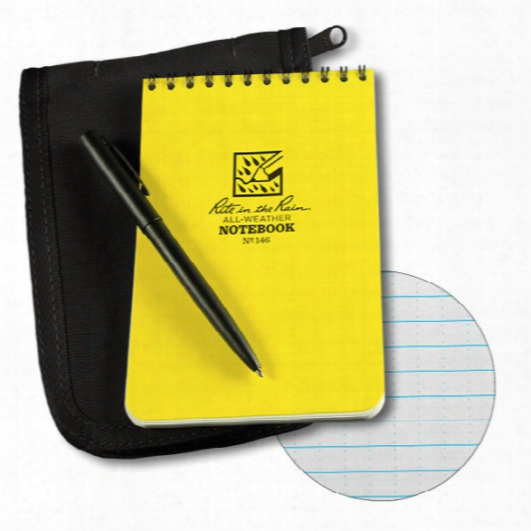 Rite In The Rain 4 X 6 Top Spiral Notebook Kti, Yellow Book/black Cover/black Pen - Black - Male - Included