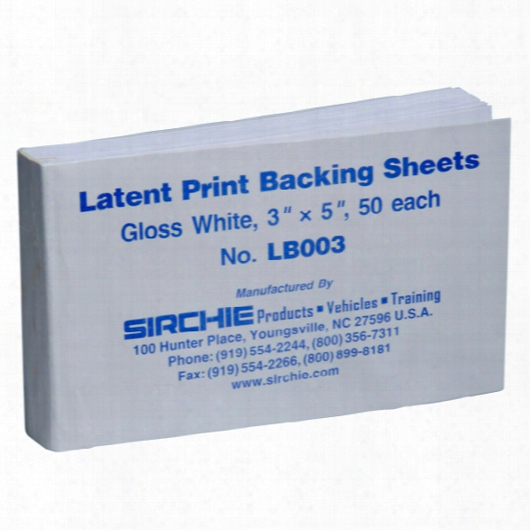 Sirchie Backing Card Pad , 3 In. X 5 In., Gloss White - Black - Unsiex - Included