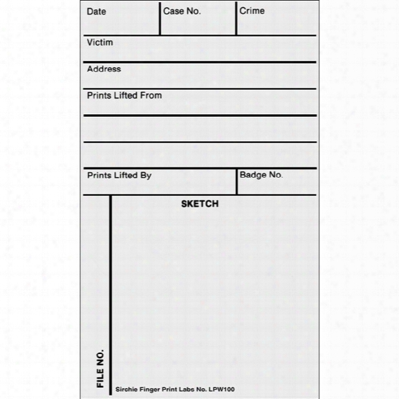 Sirchie Backing/sketch/record Cards, 3 In. X 5 In., White Lifted Print - White - Unisex - Included