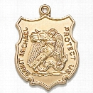 Blackinton St. Michael Medal (No Chain), 24K Gold Plate, Large - Gold - male - Included